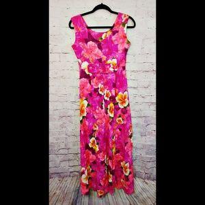 Vintage Hukilau Fashions Floral Maxi Dress